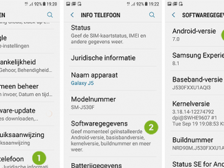 Android versienummer checken
