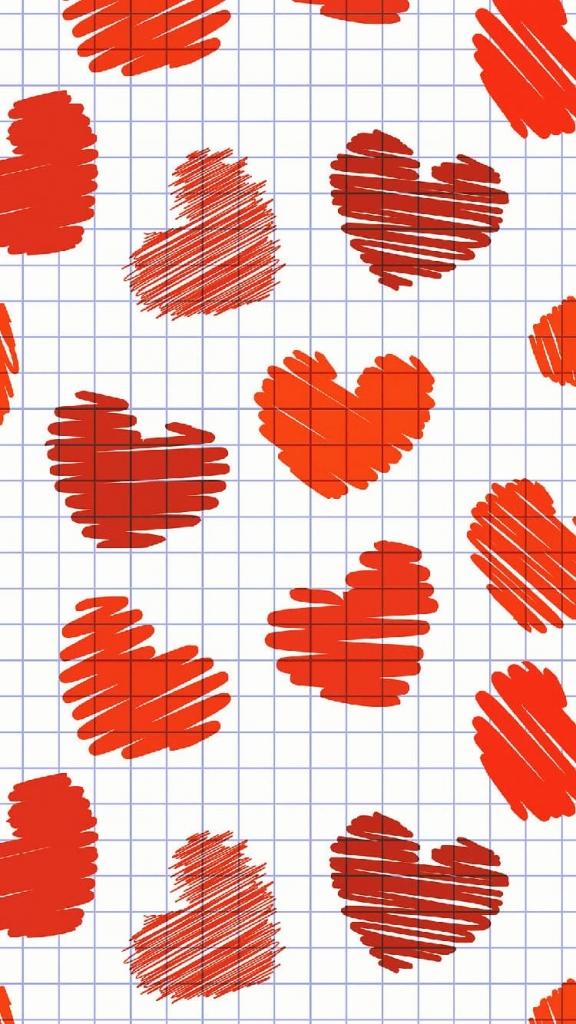 iPhone 6 wallpaper met rode liefdes hartjes