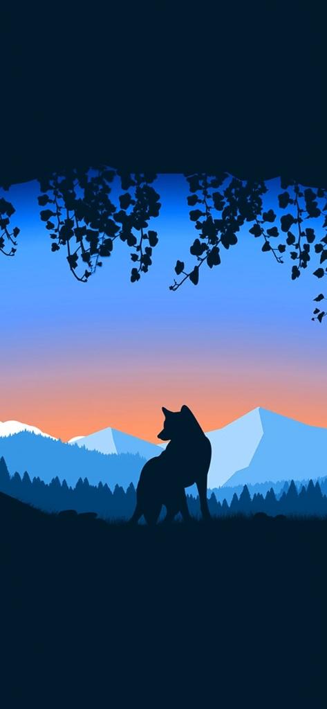 iPhone wallpaper met wolf in grot