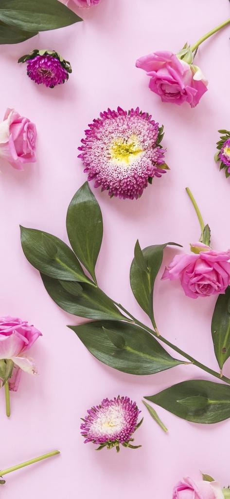 Roze iPhone X achtergrond met bloemen