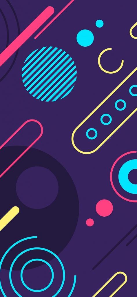 Donkere iPhone X wallpaper met kleurrijke figuren