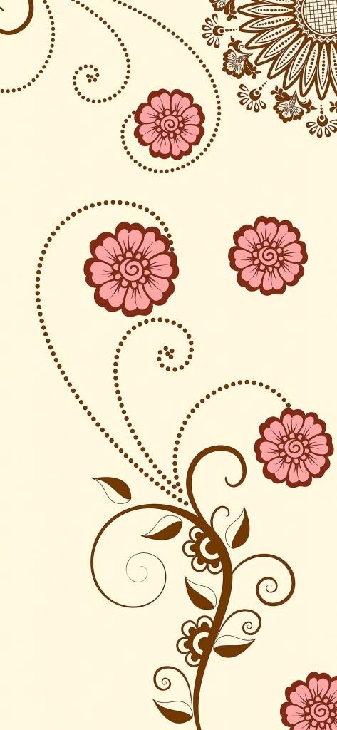 iPhone wallpaper met getekende bloemen